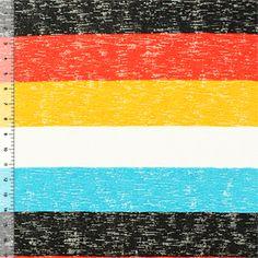 Half Yard Mustard Red Black Wide Stripe Baby Hacci Knit Fabric