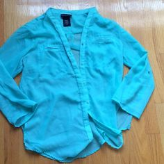 Sheer seafoam blue/green button up blouse Button up, wear sleeves up or down Metaphor Tops Blouses