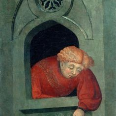 Young Man Leaning out of the Window by Lluís Borrassà (died Catalan painter. He is widely considered to have introduced the International Gothic painting style into Catalonia (wiki) - (vintprint) Medieval Art, Renaissance Art, Google Art Project, How To Lean Out, Barcelona, Early Christian, Museum, Sea Art, Window Art