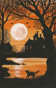 PRINT OF HALLOWEEN PAINTING 5.25 X 8.25 RYTA VINTAGE STYLE BLACK CAT MOON FOLK in Art, Direct from the Artist, Paintings | eBay