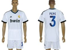 2012-2013 Pepe 3# Real Madrid Home Soccer Jersey