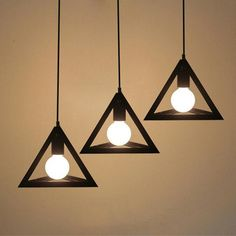 Single head lamps and lanterns of creative loft Pendant light personality bar staircase pendant lamp iron triangle droplight Hanging Light Fixtures, Ceiling Light Fixtures, Hanging Lights, Pendant Track Lighting, Home Lighting, Pendant Lamps, Dining Room Ceiling Lights, Iron Chandeliers, Led Chandelier