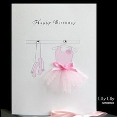 Personalised ballerina card designed and handmade for sale by Lily Lily Handmade
