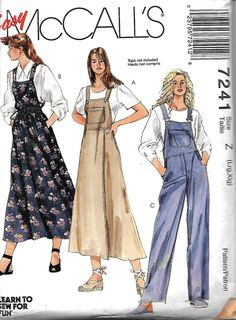 McCall's 7241 Misses Jumper And Overalls Sewing Pattern, L-XL UNCUT by DawnsDesignBoutique on Etsy