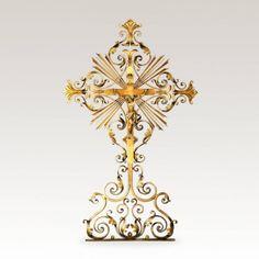 Grabkreuz »Damasus« aus Tirol mit Jesus • Hochwertige Schmiedekunst & Handarbeit • Jetzt versandkostenfrei kaufen bei ▷ Serafinum.de