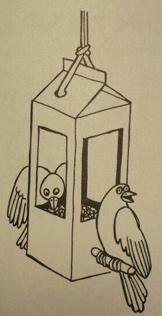 3d knutsel: voederhuisje van een melkpak