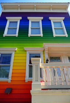 The rainbow house on Clipper Street in San Francisco, California • photo: PJ Taylor on Flickr