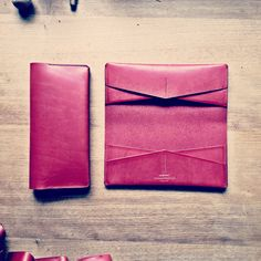 Small Castle Large Format Wallet, in tomato red veg tan bridle leather
