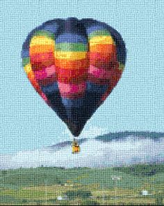 rainbow hot air balloon counted cross stitch tapestry patterns and kits