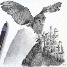 Owl - May Wisdom Surround You - 40k dots and took 22hrs. Stippling Illustrator using Dots to Draw. By Dejvid.