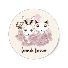 #Cute Animal Friendship Cartoon Personalized Kids Classic Round Sticker - #giftideas for #kids #babies #children #gifts #giftidea