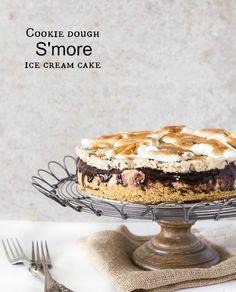 Cookie dough s'more ice cream cake