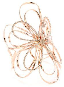 Silver please-MB!!: Sheila Fajl Rose Gold-Plated Cubic Zirconia Flower Cuff-Bracelet