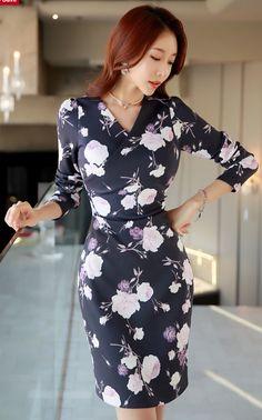 StyleOnme_Rose Print Wrap Style Dress #rose #floral #print #koreanfashion #dress #elegant #feminine #kstyle #springtrend
