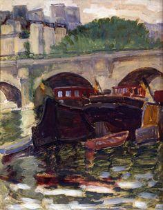 Henri-Edmond Cross - Barges. Oil on board
