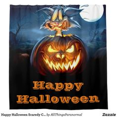 Happy Halloween Scaredy Cat Shower Curtain