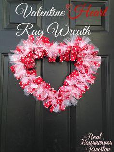Valentine Heart Rag Wreath Tutorial - housewivesofriverton.com