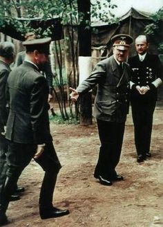 Croatian Nazi ally Ante Pavelic, left, meeting with Adolf Hitler on September 18, 1944.