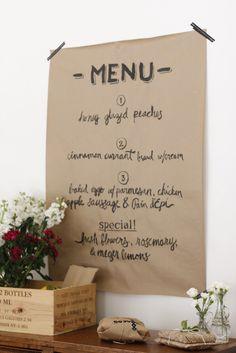 kraft paper menu for the wall