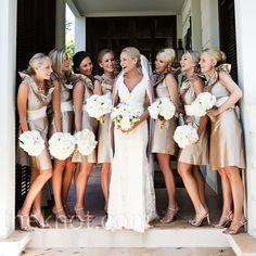 Tan Bridesmaid Dresses and love the cream/white bouquet