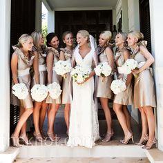 Tan Bridesmaid Dresses and love the cream/white bouquet