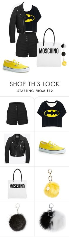 """Batman Moschino"" by troylerwillrise on Polyvore featuring LE3NO, Yves Saint Laurent, Vans, Moschino, Topshop, Carole, Adrienne Landau, batman and batmancontest"