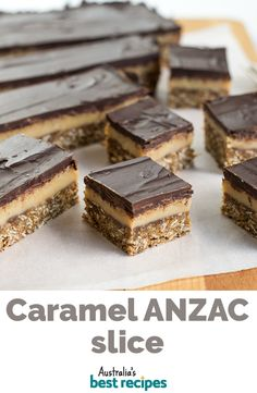 Two delicious old-fashioned favourites combine in this incredible slice: ANZAC biscuit on the bottom, with creamy condensed milk caramel and chocolate layers on top. Easy Puff Pastry Recipe, Biscuit Recipe, Oats Recipes, Sweet Recipes, Easy Caramel Slice, Chocolate Recipes, Dessert Chocolate, Lithuanian Recipes, Milk Dessert