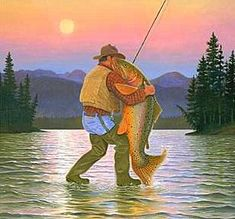 This piece was inspired by a painting that Monte did of some friends dancing at their wedding - he then substituted the fish for the bride the the fisherman for the groom. Fishing Pictures, Fishing Humor, Fishing Books, Fishing Quotes, Trout Fishing, Bass Fishing, Rainbow Trout, Fish Print, Fish Camp
