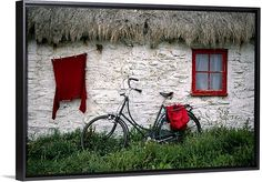 Solid-Faced Canvas Print Wall Art Print entitled Bicycle outside a cottage, Cregnesh, Isle of Man, British Isles Red Wall Art, Wall Art Prints, Canvas Prints, Destinations, Irish Cottage, Thatched Roof, Isle Of Man, Paint Shop, British Isles