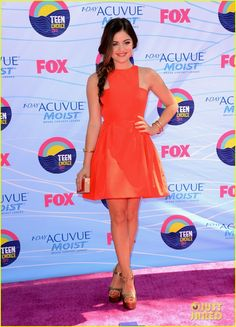 Lucy Hale in a Wes Gordon dress and Brian Atwood shoes - Teen Choice Awards 2012 Credit: Getty