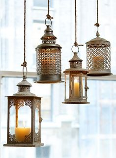 Get the Look: Antique White, Cream, and Silver Lanterns from Jamali Garden. |  How To Make Your Outdoor Space Feel Like Another Room  In Your Home (for Less than $100) | Apartment Therapy