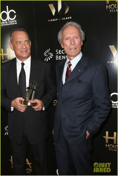 Tom Hanks Receives Hollywood Actor Award at Hollywood Film Awards Photo Tom Hanks and Clint Eastwood pose in the press room at the 2016 Hollywood Film Awards on Sunday (November in Beverly Hills, Calif. The actor was… Hollywood Actor, Hollywood Celebrities, Classic Hollywood, Actor Clint Eastwood, Tom Hanks Movies, Oscar Winning Movies, The Beverly, Beverly Hilton, Star Wars