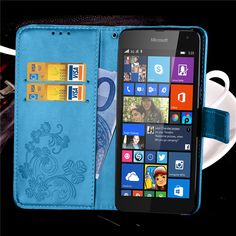 For Microsoft Nokia Lumia 535 1089 1090 Strap Leather Phone Case Cover Four Leaf Flower Magnetic. Click visit to buy #WalletCase #Case