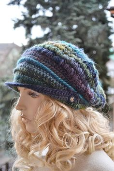 Purple blue  Crocheted  PEAKED CAP beanie Slouchy by DosiakStyle