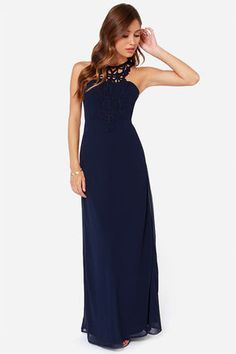 Mir's dress! So lovely:) LULUS Exclusive Gala's Best Friend Navy Blue Maxi Dress at Lulus.com! Love it, @miriammahfoud!
