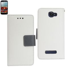 Reiko Wallet Case 3 In 1 For Alcatel Onetouch Fierce 2 7040T White With Gray Interior Leather-Like Material & Polymer Cover