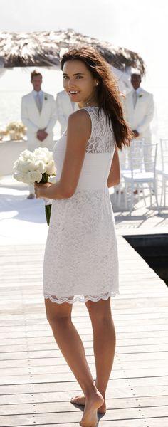 Lauren Ralph Lauren's delicate lace bridesmaid dresses lend any beach wedding a touch of quiet elegance