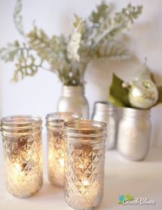 Mercury glass-painted mason jars make for brilliant NYE party decor (order some now for next year). #etsy