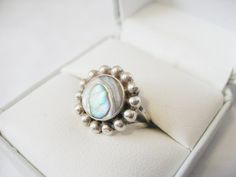 RARE Taxco Mexico LC Los Castillo Sterling Silver 925 Mother of Pearl Abalone Sattelite Ring on Etsy, $75.00