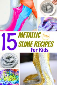These metallic slime recipes for kids are really fun and very, very sparkly! Great ideas for a rainy day or anytime you want to wow your kids! Sparkly Slime, Metallic Slime, Toilet Paper Roll Crafts, Paper Plate Crafts, Slime For Kids, Easy Crafts For Kids, Fun Websites For Kids, Creative Activities, Activities For Kids