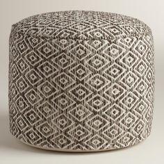 Brown and White Diamond Wool Pouf   World Market $99