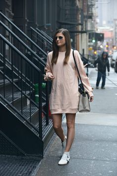 To Be [Wearing]: 50°F Winter Day - sweatshirt dress, sleeve detail, winter fashion, winter outfit ideas, winter look, street style, fashion blogger To Be Bright