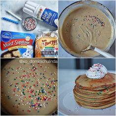 Birthday Cake Pancakes for the Birthday Couple (today is my husband and I birthday). 1 1/2 cups bob red mill pancake mix  1 cup yellow cake mix (you can replace this with a healthier version)   2 organic  eggs   1 1/2 to 2 cup almond milk   2 tbsp earth balance  butter(melted)  1 tsp vanilla extract   Rice whip cream & assorted sprinkles - @xo_dominichulinda- #webstagram