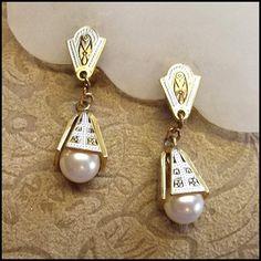 ... Earrings Petite Pearl Drops 1950s Spanish Vintage Jewelry