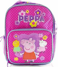 Peppa Pig 10' Canvas Pink & Purple School Backpack. #Peppa #Canvas #Pink #Purple #School #Backpack