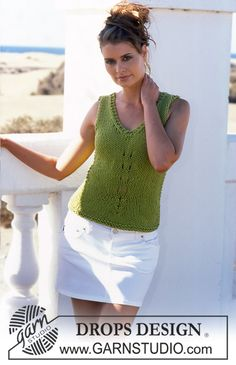 Ravelry: Tailored top with V-neck pattern by DROPS design Baby Sweater Knitting Pattern, Vest Pattern, Knitting Patterns Free, Free Knitting, Free Pattern, Crochet Patterns, Drops Design, Crochet Tank Tops, Sleeveless Tunic Tops