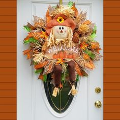 Autumn Wreath, Fall Scarecrow Porch Decor, Best Fall Door, Fall Gift, Harvest Party Turkey Wreath, Wreath Fall, Autumn Wreaths, Porch Decorating, Decorating Ideas, Fall Lanterns, Fall Scarecrows, Scarecrow Wreath, Harvest Party