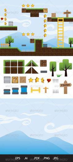 Illustrations for Game — Vector EPS #platformer #pixel • Available here → https://graphicriver.net/item/illustrations-for-game/4620581?ref=pxcr