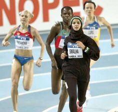 Yuliya Rusanova of Russia, Pamela Jelimo of Kenya (middle), and Woroud Sawalha of Istanbul - World Indoor Track Championships