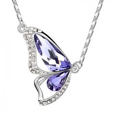 Austrian Crystal Butterfly Lavender Necklace